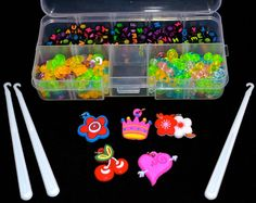 Alphabet Beads+S-Clips+C-Clips+Charms+Hook+Box Kit For Rainbow Loom Rubber Bands
