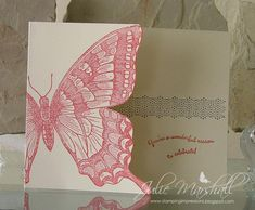 handmade greeting card ... card front fussy cut to edge of the large stamped swallowtail butterfly ... sentiment from inside the card stamped in the open spot ... lovely! ... Stampin' Up!