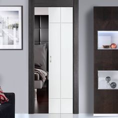 Single Pocket Lyric White sliding door system in three size widths. #internalpocketdoors #whiteroomdividers #modernslidingdoors