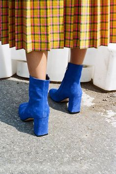 AGNES BOOTS, ELECTRIC BLUE SUEDE