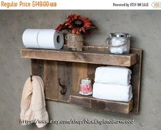 "SPRING SALES EVENT     FARMHOUSE BATHROOM SHELF with hooks, Rustic Kitchen Shelf, Country Cottage Shelf, Rustic Bathroom Organizer, with two coat or towel hooks and shelves. This is perfect for your bathroom, or would even be a great addition to an entry way or mud room. Its uniqueness makes it a stunning display piece, and it is fully functional with a 26"" top shelf and 13 1/2"" lower shelf for storage and 2 antique style rustic coat hooks for hanging robes, clothing, towels and more.  I..."