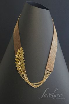 A Sprig of Golden Leaf- Weaving of Miyuki seed beads with gold-plated charm & gold filled chains