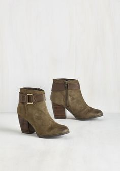 Field Day by Day Bootie. One day after the next, spiffing up in these vegan faux-suede booties brings pure bliss! #brown #modcloth