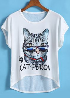 Dip Hem Cat Print T-shirt