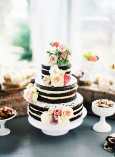 Rustic black and white wedding cake | This is amazing! Head over to Fleur Bites Cupcakery where you can see more of their unique works http://www.bridestory.com/fleur-bites-cupcakery/projects/engagements-wedding-cakes