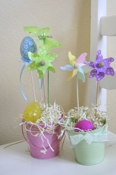 Pinwheels for spring or summer table decor.