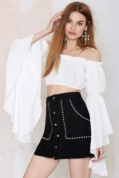 After Party Vintage Give Them Bell Crop Top - Bohemian Rhapsody