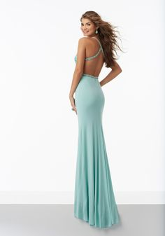 Morilee by Madeline Gardner 99087   Fitted Jersey Prom Dress with Beaded Embroidered Bodice and Criss-Cross Back. Cut Out Sides. Colors Available: Aqua