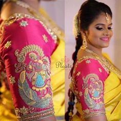 Love the design of this blouse Blouse Back Neck Designs, Best Blouse Designs, Wedding Saree Blouse Designs, Pattu Saree Blouse Designs, Lehenga Blouse, Maggam Work Designs, Sumo, Hand Embroidery, Embroidery Blouses