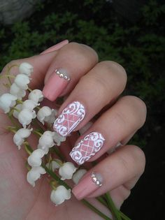 Beautiful nails 2016, Gentle summer nails, Lace nails, Lacy nails, Manicure by summer dress, Nails with curls, Nails with rhinestones, Natural nails