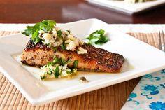 Coriander crusted Salmon with Fennel Salsa Verde