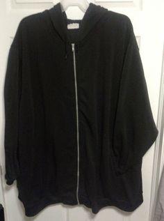 Roamans Hoodie Plus Size 5x6x7x 34/36/38/40/42 Oversized Black Zip Women Tall #Roamans #Hoodie #PlusSize
