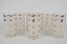 Retro Vintage Juice Glasses 7 Piece Set Snowflake and Gold Flower White and Gold in Pottery & Glass, Glass, Glassware | eBay
