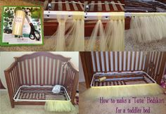 DIY Tutu Bedskirt for a toddler bed.   8/19/2015: FYI I am selling our full/double bed sized Tutu. Leave my blog a message if you are interested.  $75.00 + shipping
