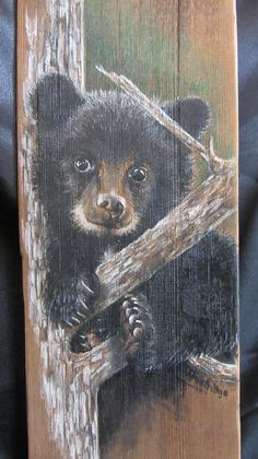 Wood Mixed Media - Baby Black Bear by Barbara Prestridge Bear Paintings, Funny Paintings, Painted Rock Animals, Barn Pictures, Baby Bears, Spirited Art, Fence Art, Bear Art, Pallet Art