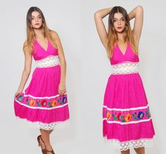 Vintage 70s MEXICAN Sundress Fuchsia EMBROIDERED Pin Pleat Halter Dress by LotusvintageNY