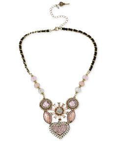 Betsey Johnson Gold-Tone Crystal Gem Cluster Frontal Necklace - Jewelry & Watches - Macy's