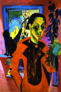 Ernst Ludwig Kirchner  self portrait with his cat