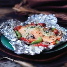 Foil Grilled Salmon (with Campbell's can of chicken soup) Grilled Halibut, Grilled Salmon Recipes, Fish Recipes, Seafood Recipes, New Recipes, Cooking Recipes, Healthy Recipes, Grilled Lobster, Favorite Recipes
