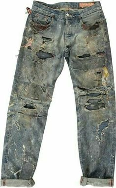 Grunge Jeans, Repair Jeans, Torn Jeans, Punk Outfits, Denim Fabric, Denim Patchwork, Destroyed Jeans, Vintage Denim, Denim Fashion