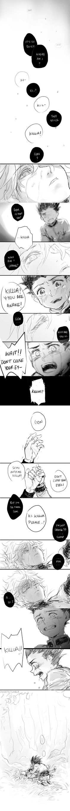 Killua and Gon #comic #crying man this brought tears to my eyes..! My babies...