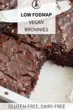 Low FODMAP vegan brownies - Extra fudgy (gluten-free and lactose-free) Healthy Food Super fudgy nied Fodmap Dessert Recipe, Fodmap Recipes, Dessert Recipes, Cookie Recipes, Fodmap Baking, Fudge, Lactose Free Diet, Chocolate Chip Cookie Dough, Low Fodmap