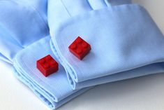 Lego cufflinks close up