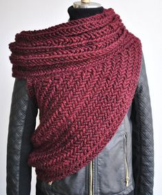 The Huntress Cowl Scarf - Chunky Cowl Post Apocalyptic/ Asymmetrical Vest Blanket Scarf Handknit Burgandy Sweater Cowl Vest