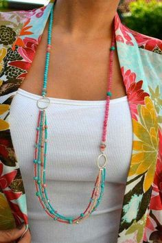 Long Multi Strand Coral Pink and Turquoise, Asymmetrical Necklace, Boho, Summer Seed Bead Jewelry, Wire Jewelry, Boho Jewelry, Jewelry Crafts, Beaded Jewelry, Jewelery, Jewelry Necklaces, Handmade Jewelry, Fashion Jewelry