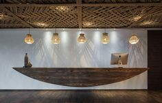 The Ripple Hotel : At the reception hall, a boat hangs down from the ceiling.