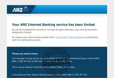 ANZ 'Service Has Been Limited' Phishing Scam