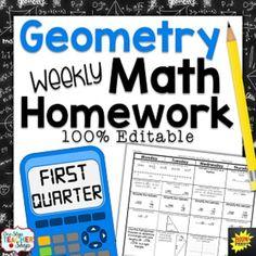 Geometry Homework EDITABLE