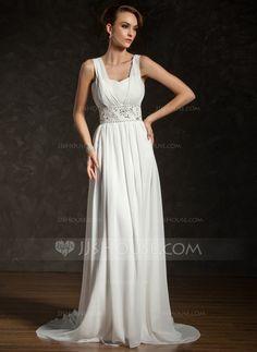 Wedding Dresses - $146.99 - A-Line/Princess V-neck Court Train Chiffon Wedding Dress With Ruffle Beading Sequins (002011404) http://jjshouse.com/A-Line-Princess-V-Neck-Court-Train-Chiffon-Wedding-Dress-With-Ruffle-Beading-Sequins-002011404-g11404