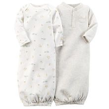 Carter's Neutral 2 Pack Heather Grey Henley Gown and Ivory Printed Gown