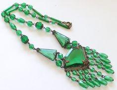 Antique Art Nouveau Deco Signed Czech Green Glass Bead Necklace | eBay