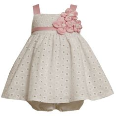 Bonnie Jean Baby/NEWBORN 3M-9M 2-Piece WHITE PINK TRIPLE SATIN FLOWER EYELET Special Occasion Wedding Flower Girl Easter P... $35.00