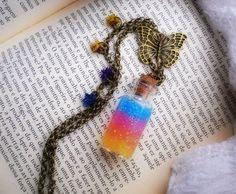Rainbow Butterfly Necklace - Rainbow in a Vial - Cute Bottle Necklace - Glitter Gel - Stars by MySoulShards, €10.00 ($13.00)