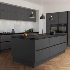 Modern Dark Grey Kitchen Cabinets 12 Home Decoration Ideas Grey Kitchen Designs, Kitchen Room Design, Kitchen Cabinet Design, Modern Kitchen Design, Home Decor Kitchen, Interior Design Kitchen, Kitchen Ideas, Modern Grey Kitchen, Kitchen Must Haves