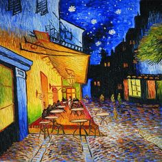 Cafe Terrace At Night by Vincent Van Gogh Wall Canvas Prints Oil Painting Reproductions Street Scenes Landscape Art Picture