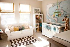 I love this space!! Dream nursery...Need to make a roman shade like this for Killy's room.