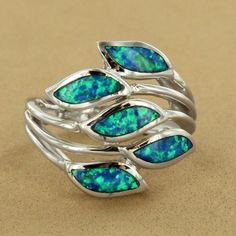 Sterling Silver Created Blue Opal Swirl Ring $79.50 #jewelry
