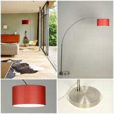 Onze booglamp met rode stoffen kap artikel 30179 brengt kleur en sfeer in elk interieur. http://www.rietveldlicht.nl/artikel/vloerlamp-30179-modern-staal_-_rvs-stof-rood-rond  Interieur fotobron : binnenkijkers VT Wonen. Hier is een booglamp met rode kap, mooi gecombineerd met een zacht groene wand waardoor de kleur van de kap nog mooier afsteekt