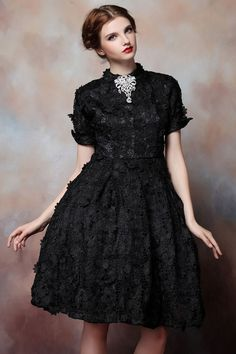 Venice Lace Black 17th Century Rococo Dress with by FairLadySecret