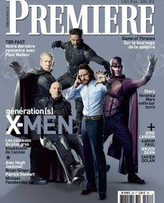 Hugh Jackman, Michael Fassbender, James McAvoy, Ian McKellen et Patrick Stewart en couverture de Première (avril 2014) pour le nouveau X-Men !