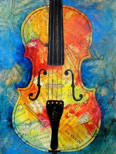 Violin / Music Collage ~ love these colours, so vivid. Like fiddle music. Music Collage, Collage Art, Painting Lessons, Art Lessons, Violin Lessons, Violin Art, Violin Music, Violin Painting, Sargent Art