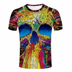 f8adb991 SKULL FACE psychedelic skull print t shirt by 'psygon' - psychedelic  clothing,trance