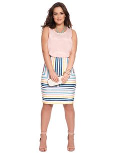 Placed Lace Stripe Pencil Skirt | Women's Plus Size Skirts | ELOQUII