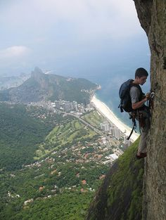 Rio  what a view and he's using a backpack.  where are the ropes