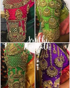 A week that was! All my favourites are getting married on and it was a great experience designing these beautiful blouses for my… Saree Jacket Designs, Wedding Saree Blouse Designs, Pattu Saree Blouse Designs, Blouse Designs Silk, Blouse Neck Patterns, Designer Blouse Patterns, Sari Design, Hand Work Blouse Design, Stylish Blouse Design