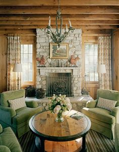 Four chair/round table chat grouping instead of couch Wisconsin Lake House | Bardes Interiors